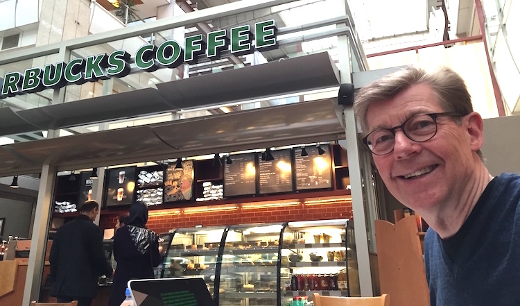 Hans Peter Bech at a Starbucks in Istanbul